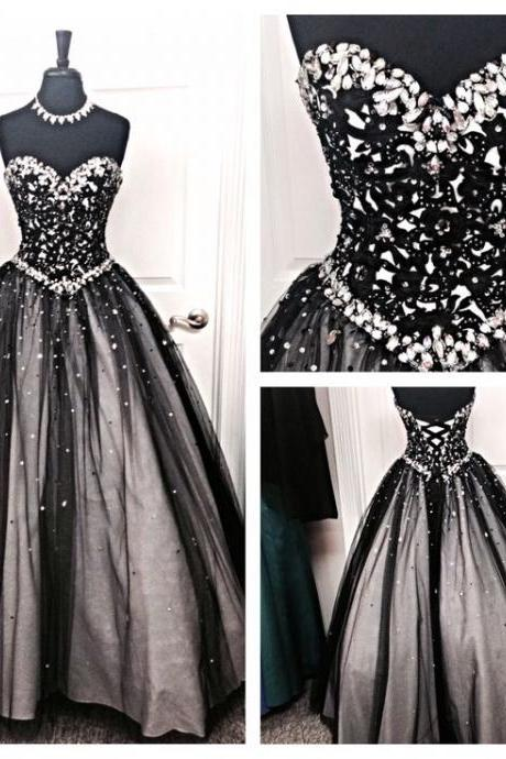 Back Up Lace Ball Gowns Beading Prom Dresses For Teens,Quinceanera Dresses,Prom Gowns,Evening Dresses,Modest Prom Dresses,Sweetheart Black Long Prom Women Foraml Dress