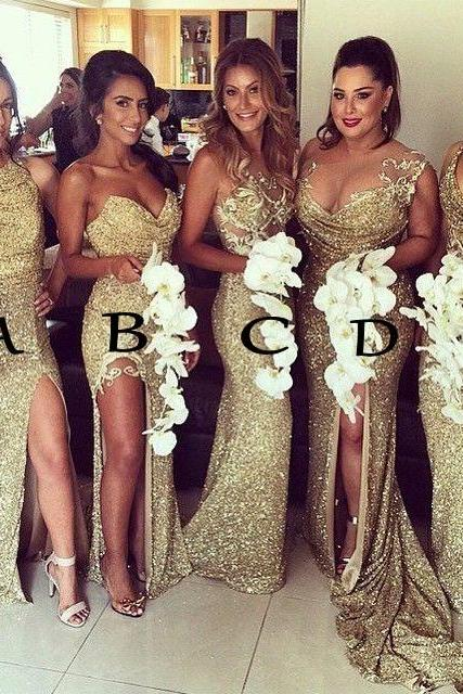 New Style Gold Sequin Bridesmaid Dress,Long Bridesmaid Dress,Sexy Sparkly Bridesmaid Dress,Short Sleeve Bridesmaid Dresses,Wedding Party Dresses,Beaded Bridesmaid Dresses For Wedding