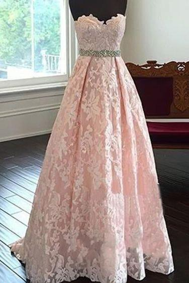 Charming Prom Dress,Sweetheart Neck Prom Dress,Lace Light Pink Prom Gowns,Long Prom Dresses,Evening Dress,Prom Party Women Dress,Formal Dress