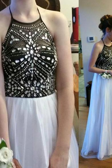 New Arrival Tulle Beaded Prom Dress,Halter Prom Dress,A-Line Prom Dress,Sequined Prom Dress,Long Eveing Dress,Girl's Graduation Dress,Prom Women Dress