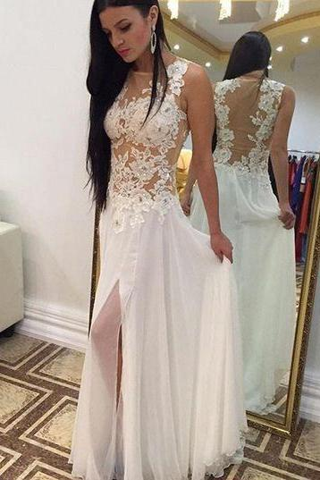 Charming Prom Dress,White Lace Prom Dresses,Prom Gowns,Long Split Chiffon Prom Dresses, Party Dress For Formal ,A line Evening Dresses