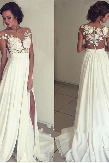 New Style Ivory Chiffon Prom Dress,Lace Prom Dress,Round Neck Prom Dress,Long Prom Dress,Evening Dress,A line Prom Evening Gowns,Party Dress,