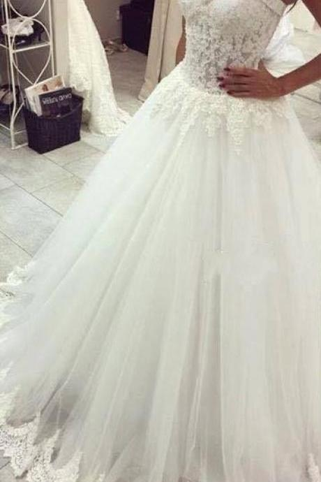 Wedding Dress 2016,Sweetheart Wedding Dress,Elegant Wedding Gowns,Lace Trim Sheer Elegant Bridal Gowns,New A line Wedding Dress,A Line Wedding Dress,High Quality Custom Made Bridal Gowns