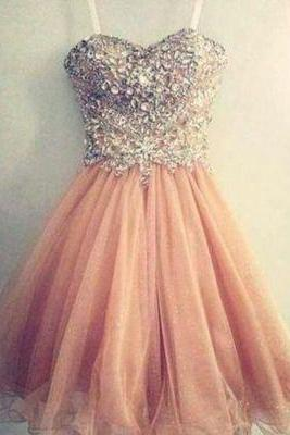 Short Beading Homecoming Dresses,Sweetheart Prom Dresses,Prom Gown,Cocktail Dresses,Strapless Evening Dress,Party Dress,Girl's Dress