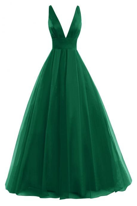 Bess Bridal Women´s Chiffon Deep V Neck Prom Dress Formal Evening Gowns Dark Green,Sexy Prom Dress,Party Dress,Long Evening Dress,Women Dress,Formal Dress