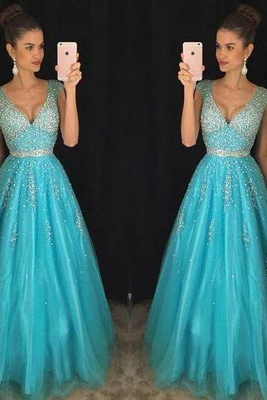 High Quality Prom Dress,Prom Dress, Light Blue Prom Dress, Crystal Prom Dress, Long Prom Dress, Party Dress, A-Line Prom Dress, Halter Prom Dress, Open Back Prom Dress