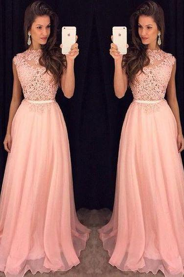 High Quality Prom Dress,Prom Dress, Pink Lace Prom Dress,Long Evening Dress,Chiffon Prom Gowns,Graduation Dress For Teens,Party Dress,Charming Evening Dress