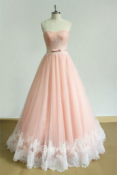 2016 New Style Prom Dress,A-Line Prom Dress,Appliques Prom Dress,Pink Tulle Prom Dress,Sweetheart Evening Dress,Evening Dress