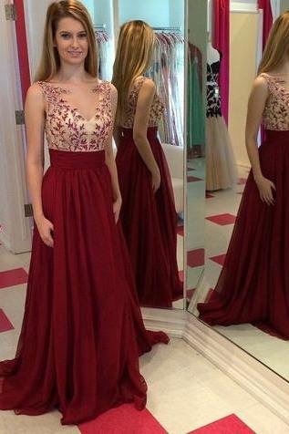 Evening Dress,Lace and Chiffon Prom Dress,Burgundy Prom Dresses,Red Party Dress,Graduation Dress,A Line Evening Dress,Formal Dress On Sale 2016,