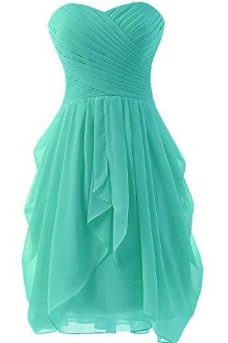 New Arrival Sweetheart Short Cocktail Dress Lace Up Back Chiffon A-Line Prom Dresses,Short Homecoming Dress,Homecoming Dress