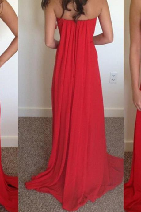 Red Prom Dresses 2016,Beautiful Red Slit Long Chiffon Prom Dresses, Red Party Dresses 2016,A line Prom Gowns,Charming Evening Dress