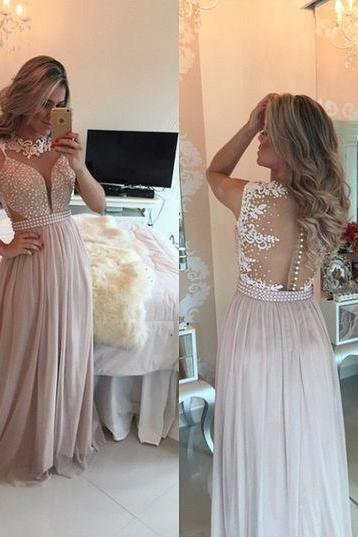 2016 Lace Pearls Chiffon Prom Dresses Neck Sheer Open Back Long Evening Gowns ,Party Dress,Charming Prom Dress