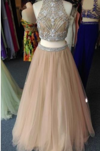 2016 Two Piece Prom Dress,High Quality Prom Dress,Beading Prom Dress With Crystals,Hign Neck Sheer Neck Prom Dress,Champagne Backless Evening Dress,Formal Dress,2 Piece Evening Gowns,Party Dress On Sale