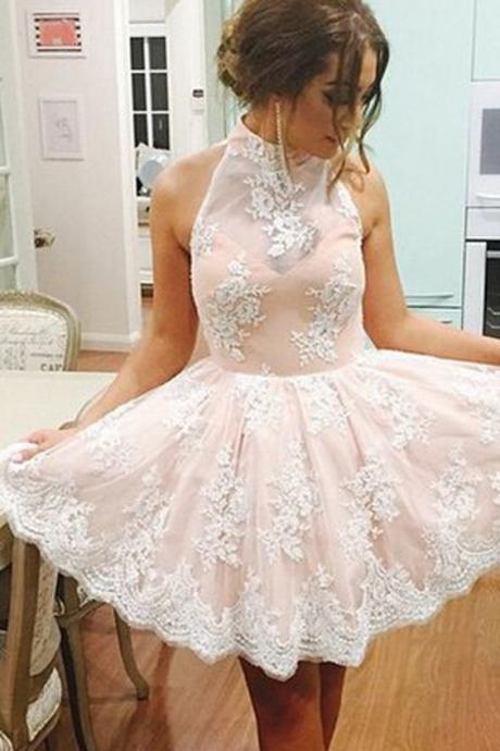 Homecoming Dress 2016,Champagne Homecoming Dress,Illusion Short Prom Dress,White Lace Homecoming Dress,Short Homecoming Dress,High Neck Prom Dress,Party Dress,Prom Formal Dress,