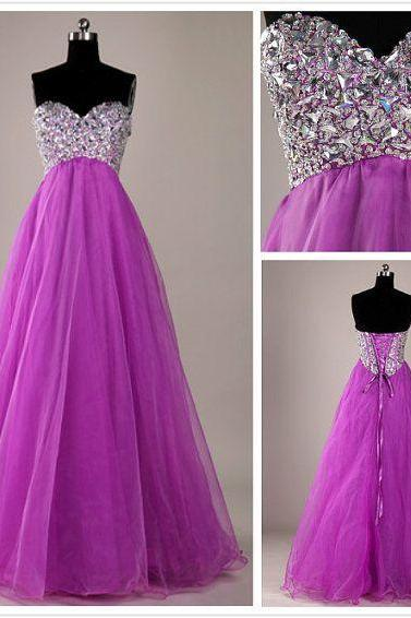 A-Line Beading Prom Dresses,Sweetheart Purple Floor-Length Evening Dresses, Real Made Prom Dresses,Backless Prom Dress,Dress For Prom ,Evening Dress 2016,High Quality Prom Dress