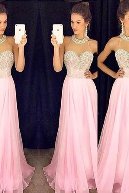 High Quality Chiffon Prom Dress,Halter Prom Dress,A line Prom Dress,Beading Prom Gowns,Evening Dress 2016,Pink Prom Evening Gowns,Long Party Dress,Pink Graduation Dress,
