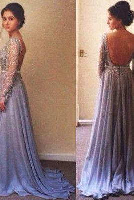 Gorgeous Long Sleeve Beading Prom Dress,Sexy Prom Dress,Backless Prom Gowns,Long Sleeves Evening Dress,Evening Gowns,Elegant Prom Gowns,Lace Prom Gowns,Chiffon Evening Dress