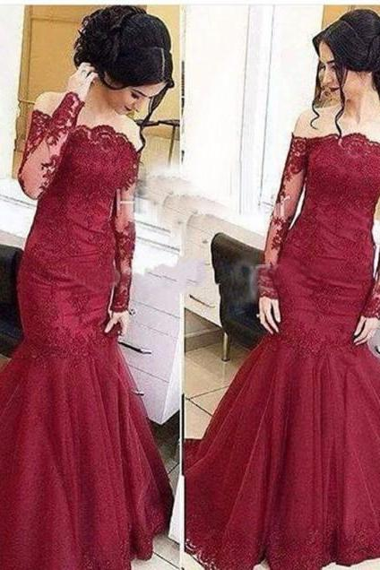 Burgundy Long Sleeves Prom Dress, Mermaid Style Burgundy Prom Dress, Off the Shoulder Prom Dres, Lace Appliques Homecoming Evening Dress,Printed Dress,Luxurious Party Formal Dress,