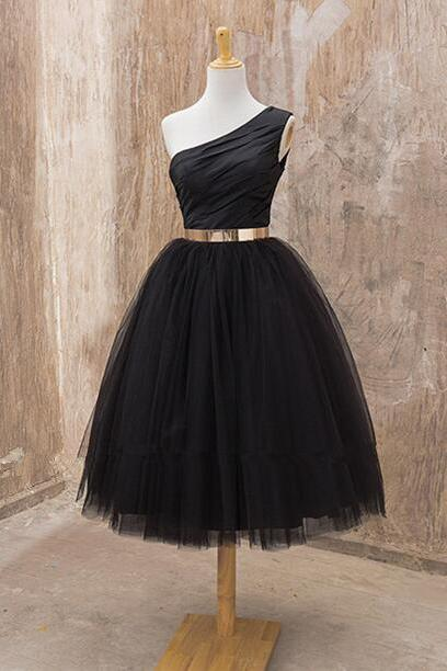 Black One Shoulder Midi Length Tulle Cocktail Dress, Party Dress With Gold Belt,Women Skirt,Tulle Skirt,Dress For Teens,Girl's Dress,Graduation Dress,