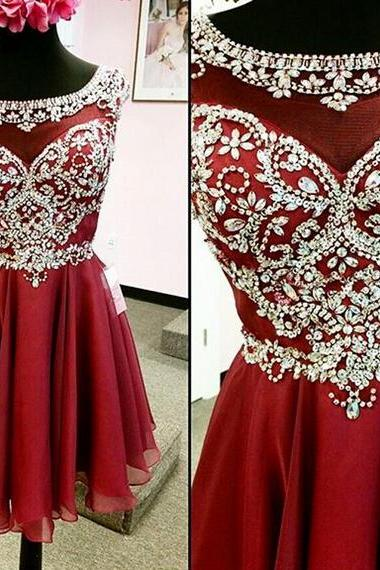 High Quality Short Prom Dress,See Through Homecoming Dress,Short Wine Homecoming Dress with Beading,Gorgeous Graduation Dress,Party Dress,Short Cocktail Dresses,Sexy A-line Scoop Beaded Homecoming Dress,