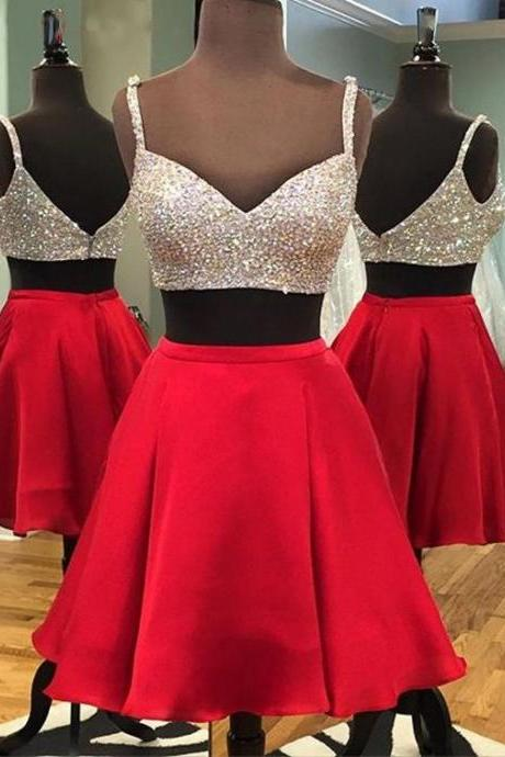 High Quality Short Two-piece Prom Dress,Sequins Homecoming Dress,Red Backless Short Party Dresses, Short Prom Dress, Two Pieces Prom Dress, Two Pieces Homecoming Dress,Luxurious A-line Homecoming Dress,Graduation Dresses