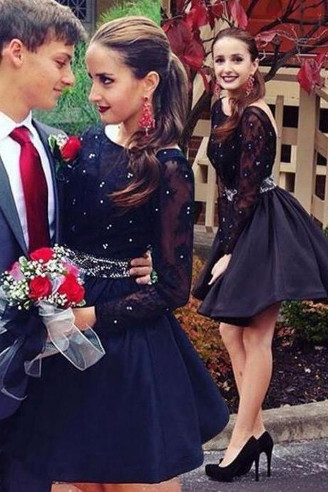 Lovely Short Black Prom Dress,New Arrival Backless Hoemcoming Dress,Long Sleeves Hoemcoming Dress With Beaded,Party Dress for Weddings,Lace Appliques Short Garduation Dress,Wedding Guest Dresses,Hoemcoming Dress On Sale,