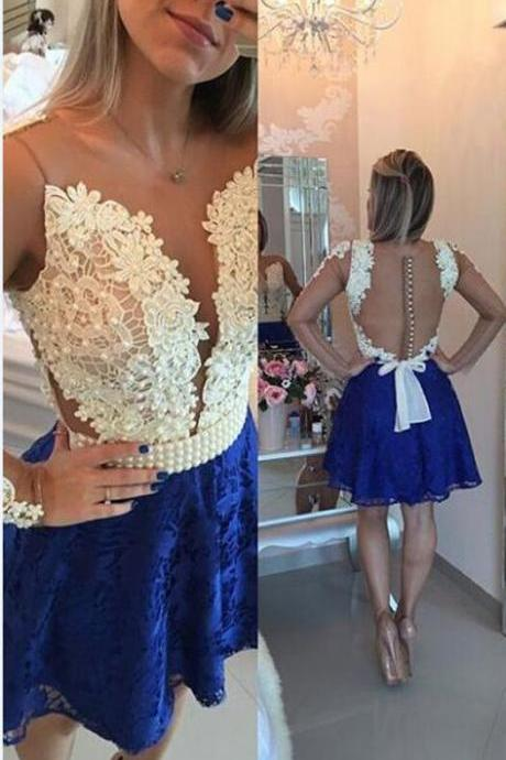 A-line Lace Homecoming Dress with Beading ,Royal Blue Lace Homecoming Dress,Homecoming Prom Dress,Short Homecoming Dress,Cute Short Homecoming Dress,Custom Made Short Formal Dress