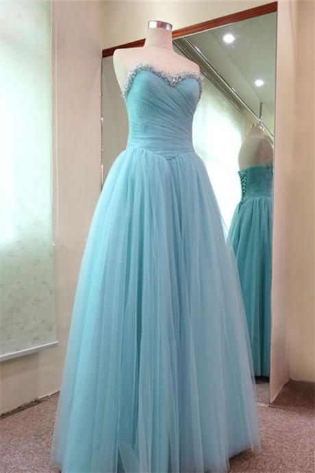 New Light Blue Prom Dresses Long Tulle Evening Party Prom Gowns,High Quality Prom Dress,Luxurious Prom Gowns,Beaded Evening Dress,Special Occasion Dress,Formal Dress 2016