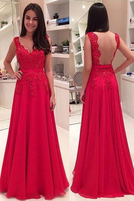 Charming Prom Dress,Prom Dress 2016,Backless Prom Dress,Red Prom Dress,Lace Prom Dress,Chiffon Prom Dress,Long Prom Dress,V-neck Prom Dress,Formal Dress,Hot Sale Party Dress,