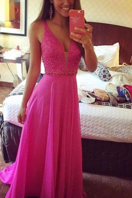 Modest Prom Dress,Beaded Prom Dress,Chiffon Prom Dress,A line Prom Gowns,Long Party Dress,Deep V Neck Homecoming Evening Dress,Prom Dress 2016,Formal Party Dress,Graduation Dress On Sale
