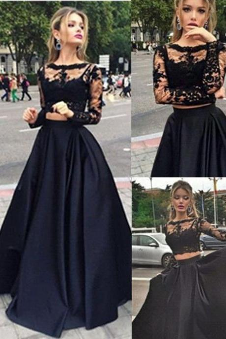 Two Pieces Prom Dress 2016,High Quality Prom Dress,Black Lace Long Sleeve Prom Dress,Satin Prom Gowns,A line Evening Dress,Lace Evening Gowns,Lace Party Dress,Modest Prom Formal Dress,Noble Homecoming Evening Dress,