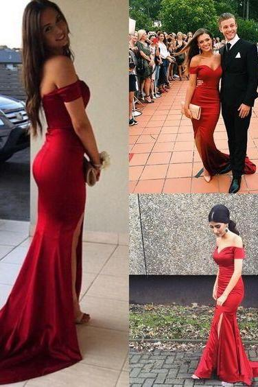 Sexy Red Prom Dress,Off the Shoulder Prom Dress,Mermaid Prom Dress,Satin Prom Dress,Formal Dress,Charming Evening Dress