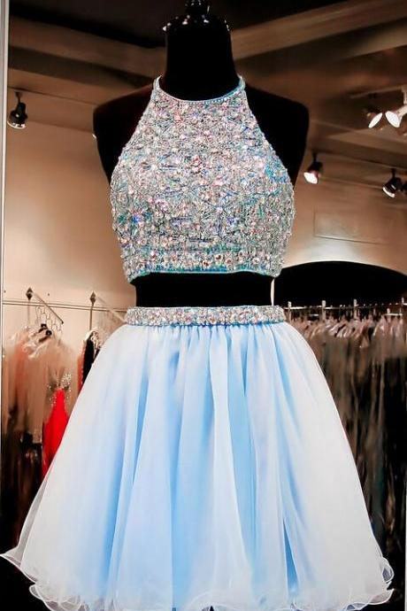 Two Pieces Homcoming Dresses, Charming Homecoming Dress,Graduation Dress,Dress For Teens,O-Neck Homecoming Dress,Homecoming Party DressA line Short Prom Dress,
