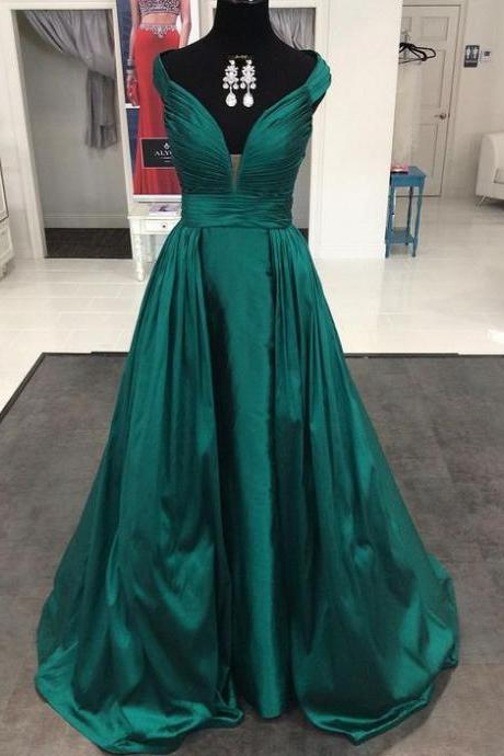 Modest Long Prom Dress, Ball Gown, Elegant v-neck Green Satin Evening Dresses with Straps,V neck Prom Gowns,Prom Formal Dress,High Quality Homecoming Party Dress