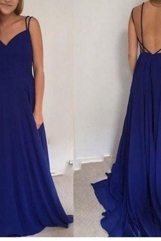 Unique Blue Long Evening Dress,Sexy Chiffon Prom Dress,Backless Prom Dress,A line Prom Gowns,Hot Sale Party Dress ,Dress For Prom,Prom Dress 2016,Formal Women Dress,Homecoming Evening Dress,Formal Dress