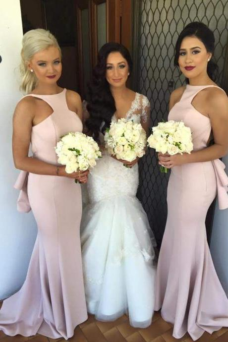 2016 Pink Bridesmaid Dress,Wedding Party Dress,Special Mermaid Long Pink Bridesmaid Dress with Open Back,Backless Prom Dress,