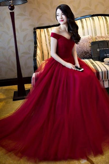 Beautiful Off the Shoulder Prom Dress, Burgundy Red Tulle Prom Dress,Prom Gowns,Elegant Formal Party Dress,Red Wedding Dress,Special Prom Women Dress,Charming Evening Dress,