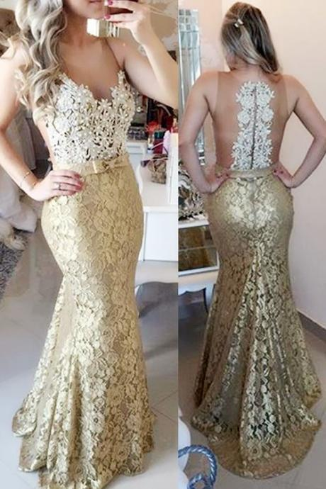 2016 Sheer Illusion Lace Mermaid Prom Dresses ,Sleeveless Long Evening Gowns with Bow ,Champagne Prom Dresses, Backless Prom Gowns,Formal Dress On Sale