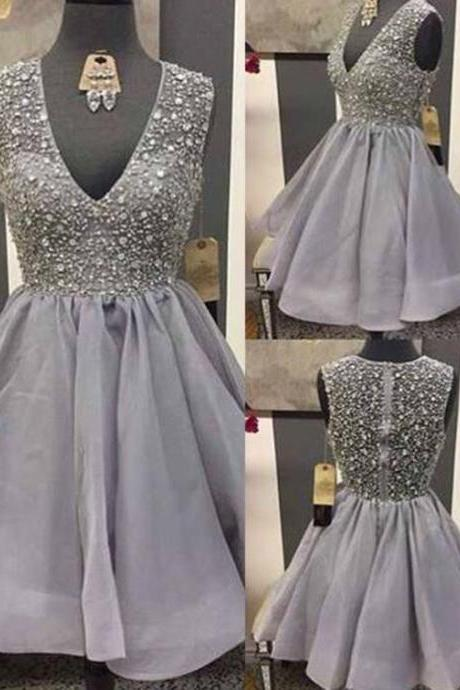 High Quality V-neck Sleeveless Short Grey Organza Homecoming Prom Dress with Beading, Glamorous Homecoming Dress,Short Prom Dress,Party Dress,Senior Homecoming Party Dress,Graduation Dress