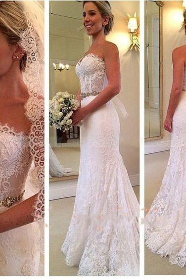 Elegant Style Vintage Bridal Dresses,Sweetheart Wedding Wresses,Lace Wedding Dresses with Beading,Lace Wedding Dress,Wedding Dress 2016,Beaded Wedding Dresses,
