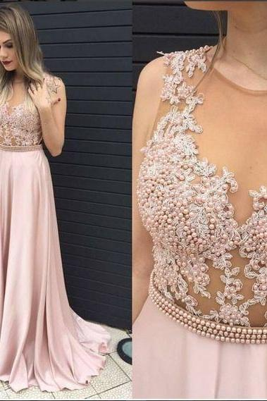 New Arrival Pink Prom Dress,Pears Long Prom Dress,See Through Prom Gowns,Satin Prom Evening Dress,A line Evening Dress,Formal Dress,Party Dress,Prom Dress 2016,Prom Dress