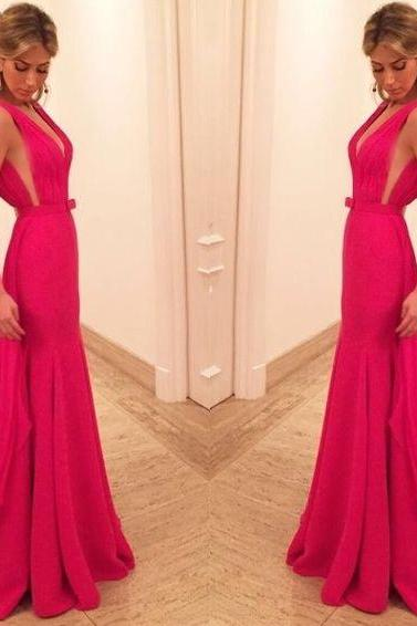 Red Plunging V Neck Backless Chiffon Prom Dress,Vestidos de Festa, Evening Gown ,Women Party Dress,Sexy Prom Drerss,Charming Evening Dress,