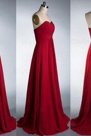Elegant A Line Floor Length Burgundy Chiffon Bridesmaid Dresses,Wedding Party Dress,Cheap Graduation Dress Evening Prom Dress,Sweetheart Dark Red Long Bridesmaid Dress,