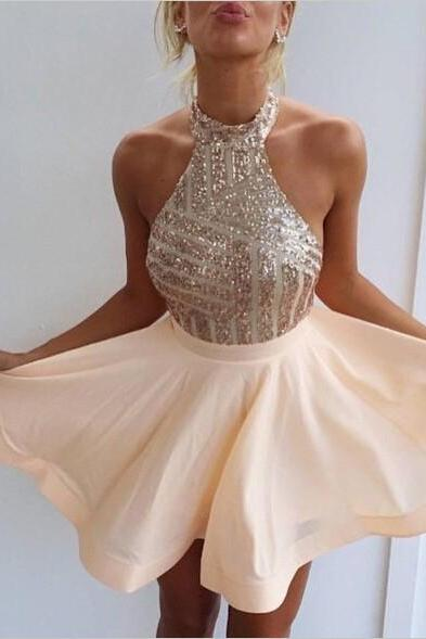 Luxury Short Prom Dress,Sexy Open Back Party Dress,Backless Prom Dress, Sexy A-line Halter Chiffon Sequins Above-knee Homecoming Dress, Cocktail Dress,Graduation Dress