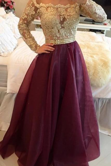 2016 Long Sleeves Prom Dresses Gold Illusion Lace Beaded Burgundy A-line Gorgeous Evening Gowns,Women Dress,Charming Prom Evening Dress,