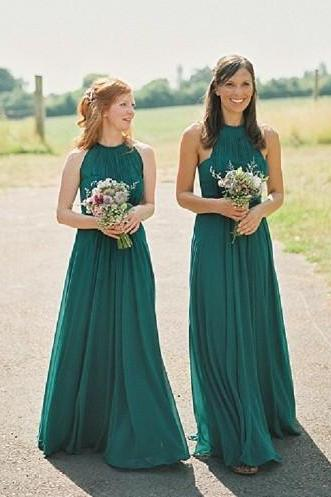 New Fashion Bridesmaids Dresses 2017,Long Emerald Green Bridesmaids Dresses, Halter Bridesmaids Dresses, Chiffon Bridesmaid Dress, Long Bridesmaids Dresses, Bridesmaids Dresses 2017