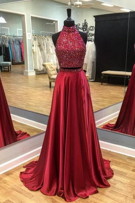 Two Pieces Prom Dresses,Real Made Prom Dress,Long Prom Dress, Charming Prom Dresses, Long Party Dresses ,2017 Prom Dresses, Charming Evening Dress