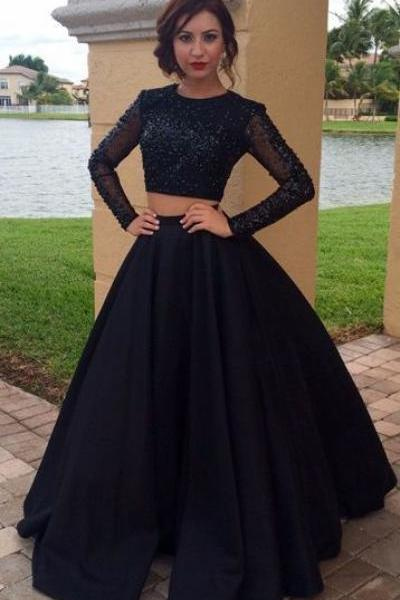 Beading Long Tulle Sleeves Satin Two Piece Prom Dresses,Ball Gowns,Satin Prom Dress,Modest Prom Dress,Party Dress,Formal Prom Party Dress,Charming Evening Dress,2017 Prom Gowns,