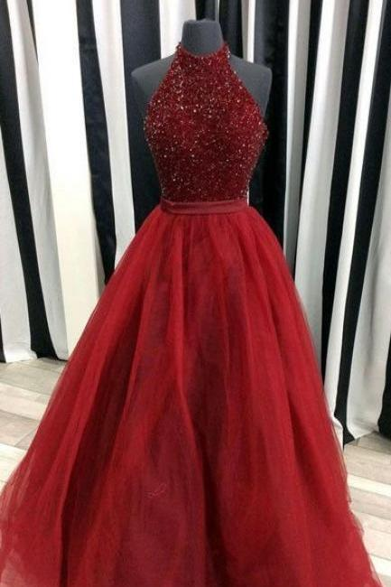 Modest Prom Dress,Beaded Prom Dress,Tulle Prom Dress,Ball Gown ,Burgundy Prom Dress,Sexy Party Dress,Formal Dress,Custom Made Prom Evenig Dress,
