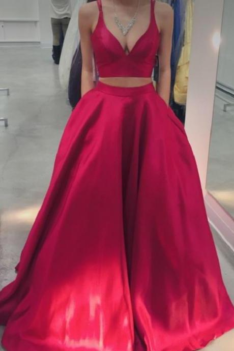 Charming Prom Dress,Two Piece Prom Dress,Long Prom Dress,Satin 2 Piece Prom Dress,Formal Party Dress,Ball Gown,Elegant Two Piece Prom Dresses, Graduation Dress,